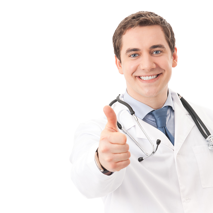 Happy doctor with thumb up, isolated on white